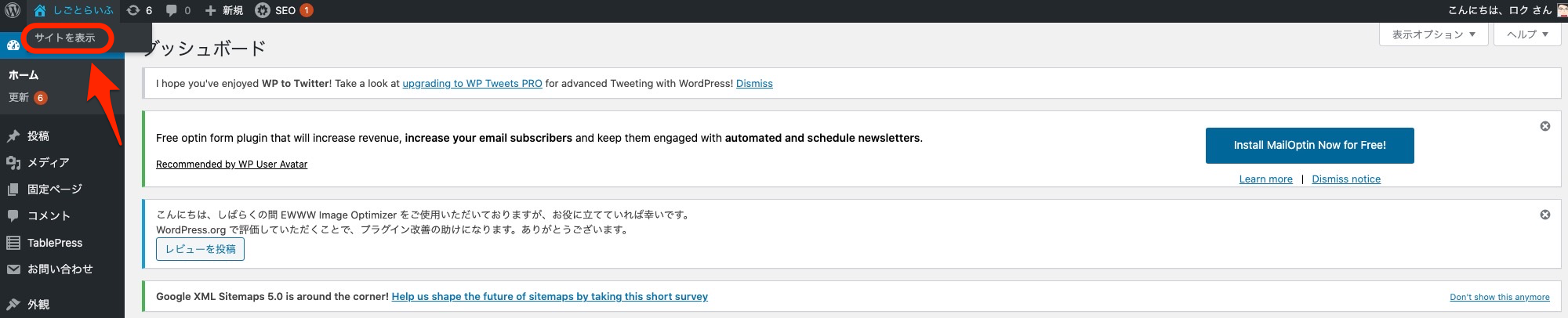WordPress サイト 表示